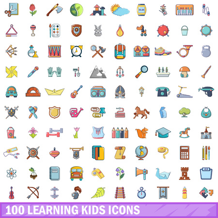 100 learning kids icons set. Cartoon illustration of 100 learning kids vector icons isolated on white background
