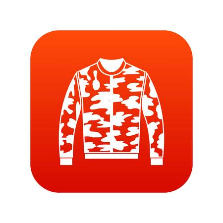 Camouflage jacket icon digital red for any design isolated on white vector illustration