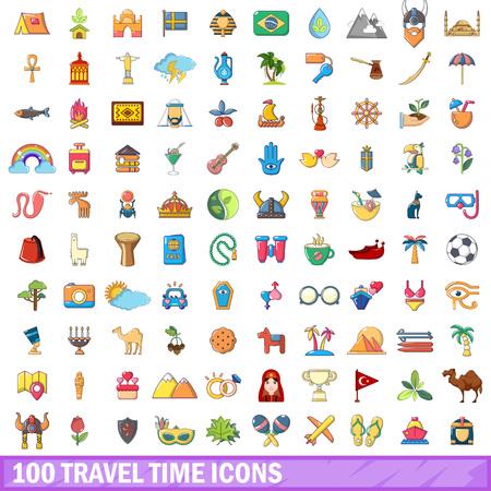 100 travel time icons set. Cartoon illustration of 100 travel time vector icons isolated on white background Illustration
