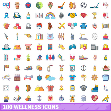 100 wellness icons set. Cartoon illustration of 100 wellness vector icons isolated on white background