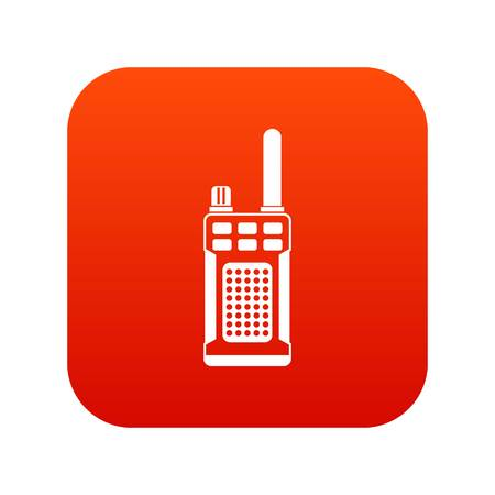 Portable handheld radio icon digital red for any design isolated on white vector illustration