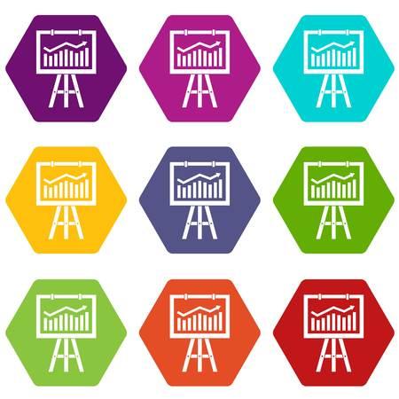 Flipchart with marketing data icon set many color hexahedron isolated on white vector illustration