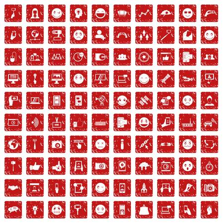 100 social media icons set in grunge style red color isolated on white background vector illustration