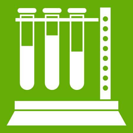 Medical test tubes in holder icon white isolated on green background. Vector illustration