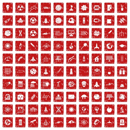 100 space icons set grunge red Vectores
