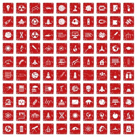 100 space icons set grunge red Çizim