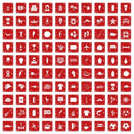 100 South America icons set grunge red