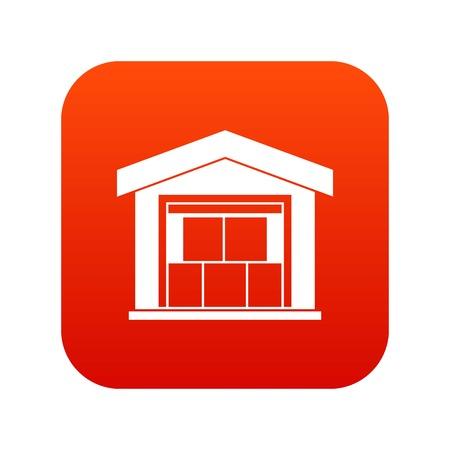 Warehouse building icon digital red Vectores
