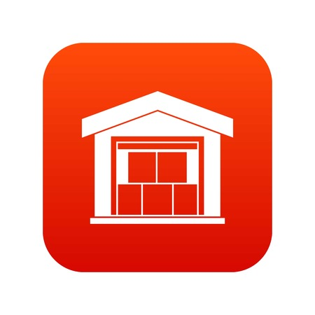 Warehouse building icon digital red Illustration
