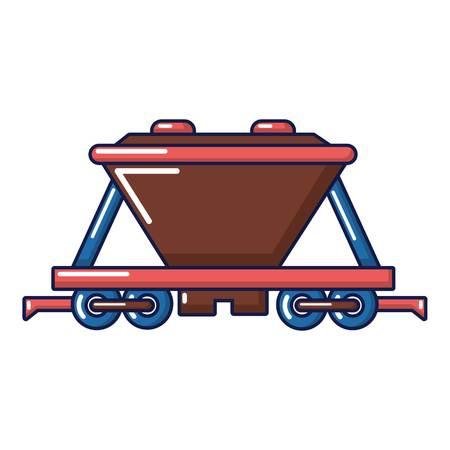 Goods train icon, cartoon style Illustration