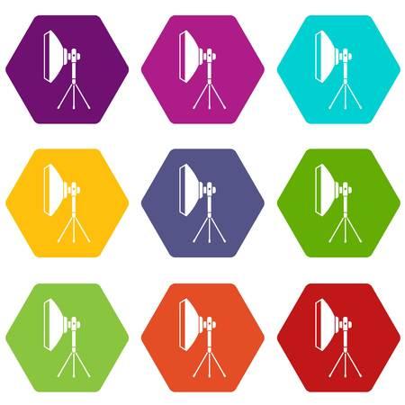 Studio lighting equipment icon set color hexahedron Illustration