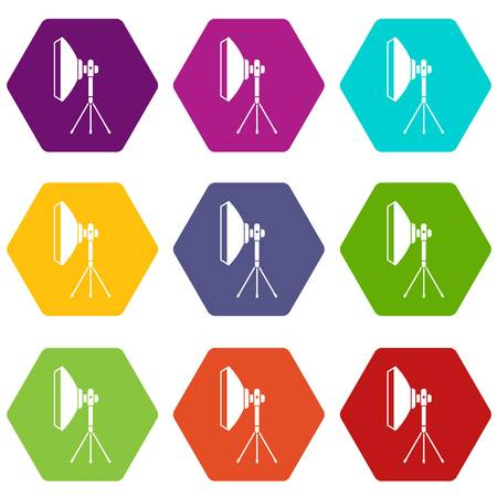 Studio lighting equipment icon set color hexahedron Illustration