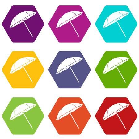 Umbrella icon set color hexahedron