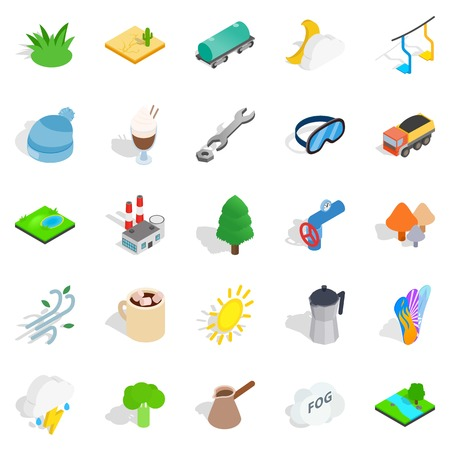 Winterly icons set, isometric style