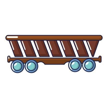 Freight car icon, cartoon style Illustration