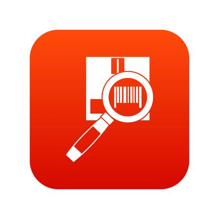 Magnifier and diskette icon digital red