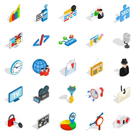 Web project icons set, isometric style