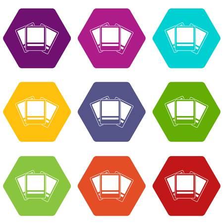 Photos icon set color hexahedron