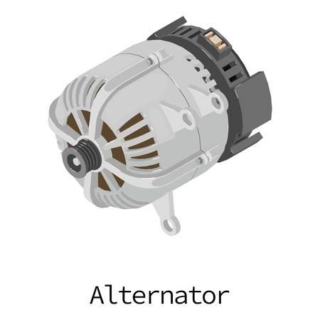 Alternator icon, isometric 3d style