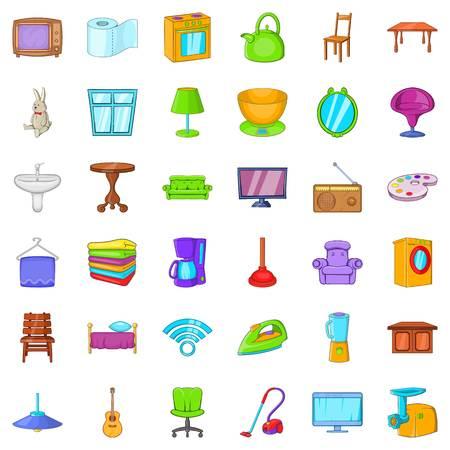 Comfort room icons set, cartoon style Vettoriali