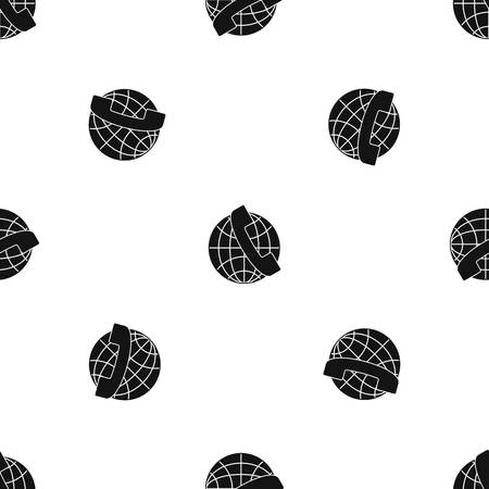 Handset and globe pattern repeat seamless in black color for any design. Vector geometric illustration