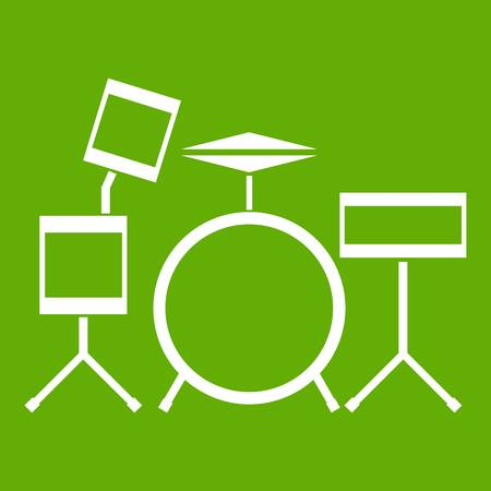 Drum kit icon white isolated on green background. Vector illustration
