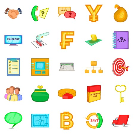 Financial day icons set, cartoon style
