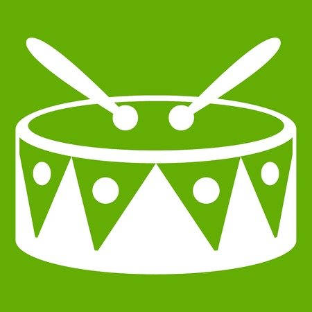 Drum and drumsticks icon green
