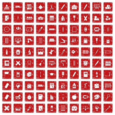 100 stationery icons set grunge red Vektoros illusztráció