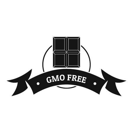 Gmo free food logo, simple black style