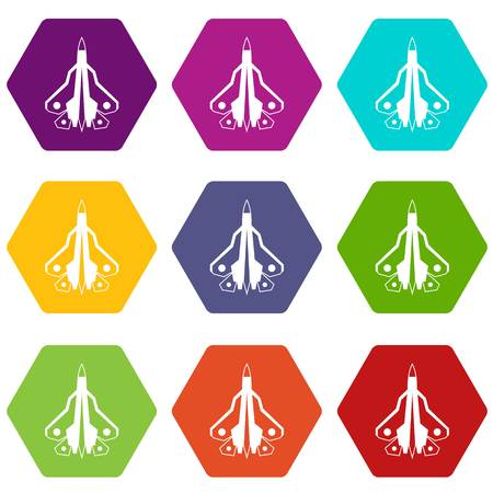 Military fighter plane icon set color hexahedron