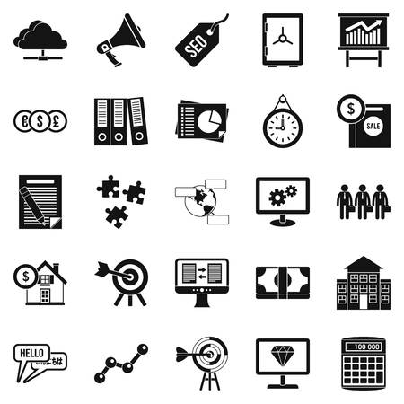 Cash consideration icons set, simple style