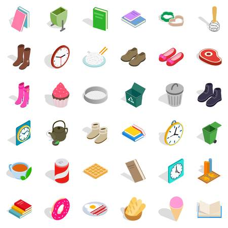 Home interior icons set, isometric style