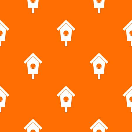 Birdhouse pattern repeat seamless in orange color for any design. Vector geometric illustration Illustration