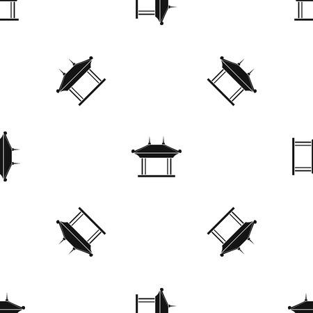 De herhaling van het pagodepatroon naadloos in zwarte kleur voor om het even welk ontwerp. Vector geometrische illustratie Stock Illustratie