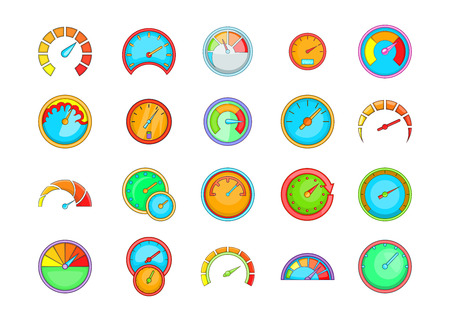 Dashboard icon set. Cartoon set of dashboard vector icons for your web design isolated on white background Illustration