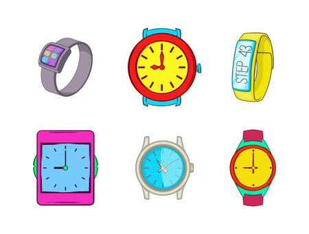 Smart watch icon set. Cartoon set of smart watch vector icons for your web design isolated on white background