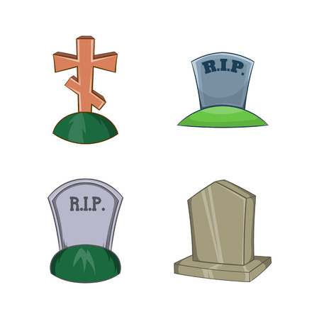 Grave icon set. Cartoon set of grave vector icons for your web design isolated on white background