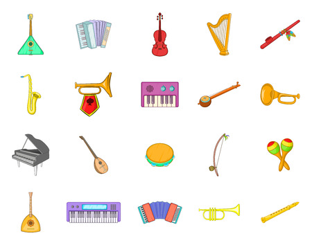 Musical instrument icon set. Cartoon set of musical instrument vector icons for your web design isolated on white background