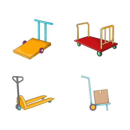 Warehouse cart icon set. Cartoon set of warehouse cart vector icons for your web design isolated on white background Vectores