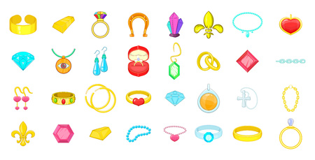 Jewerly icon set. Cartoon set of jewerly vector icons for your web design isolated on white background