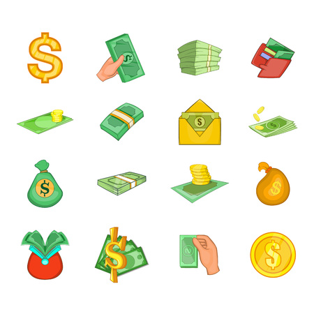 Dollar icon set. Cartoon set of dollar vector icons for your web design isolated on white background