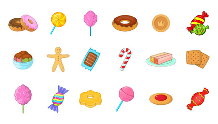 Candy icon set. Cartoon set of candy vector icons for your web design isolated on white background Çizim