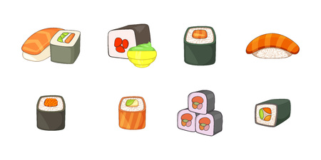 Sushi icon set. Cartoon set of sushi vector icons for your web design isolated on white background