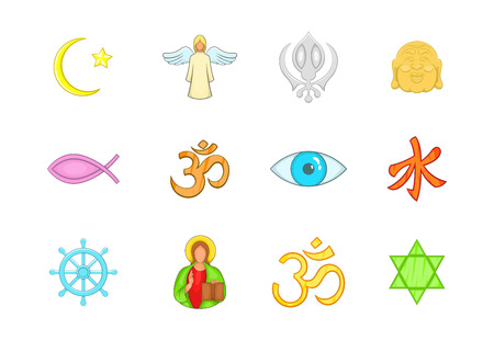 Religion sign icon set. Cartoon set of religion sign vector icons for your web design isolated on white background