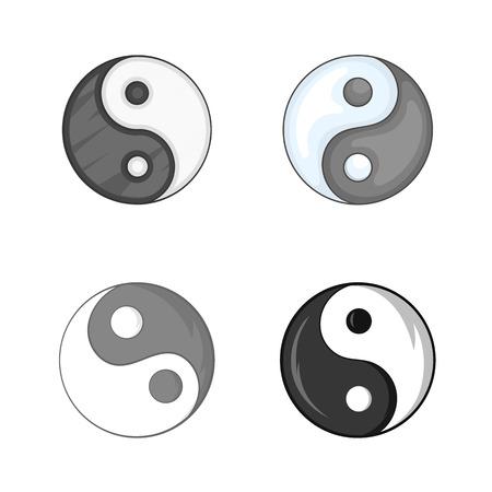 陰陽シンボル アイコンを設定。白い背景に分離されたウェブ デザインの陰陽シンボル ベクトルのアイコン漫画セット
