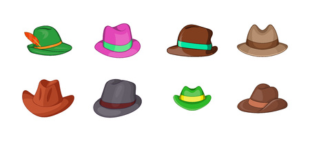 Panama hat icon set. Cartoon set of panama hat vector icons for your web design isolated on white background