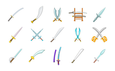 Sword icon set. Cartoon set of sword vector icons for your web design isolated on white background