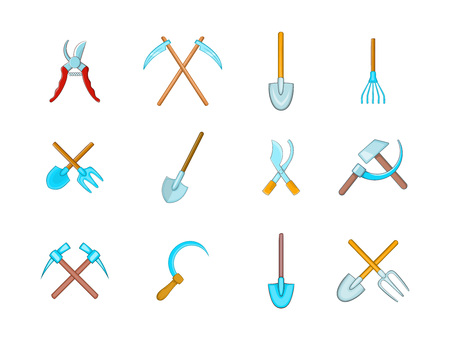 Farm tools icon set. Cartoon set of farm tools vector icons for your web design isolated on white background