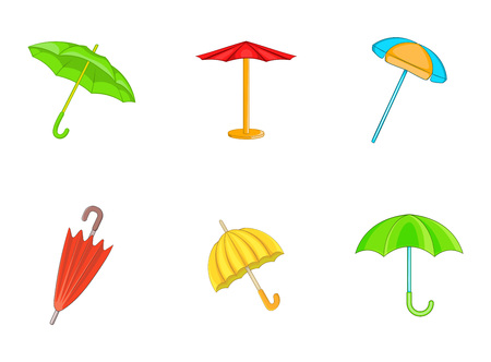 Umbrella icon set. Cartoon set of umbrella vector icons for your web design isolated on white background Illustration